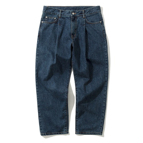 19fw one tuck crop denim pants indigo