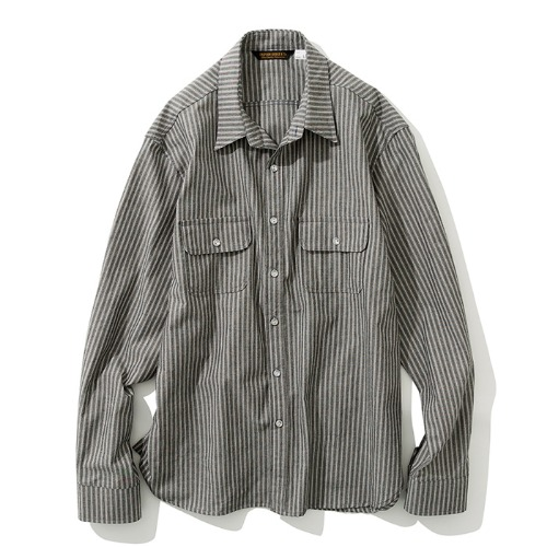 19fw stripe pocket shirts black
