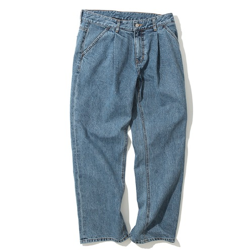 19fw wide one tuck denim pants indigo