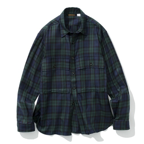 19fw big pocket shirts green check