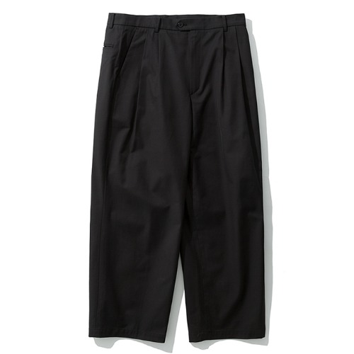 19fw wide two tuck pants black