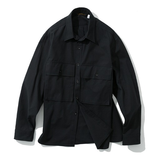 19fw big pocket shirts black