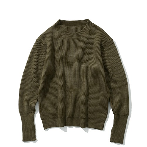 19fw wool crew neck knit khaki