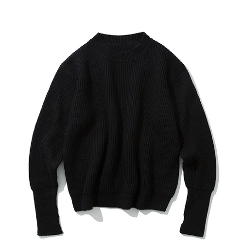 19fw wool crew neck knit black