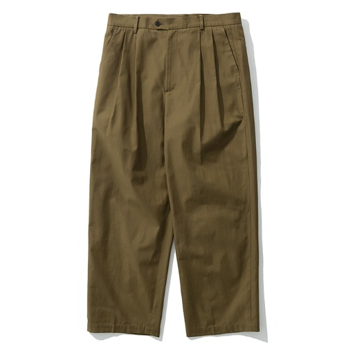 19fw wide two tuck pants brown