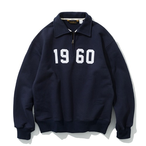 1960 half zip up navy