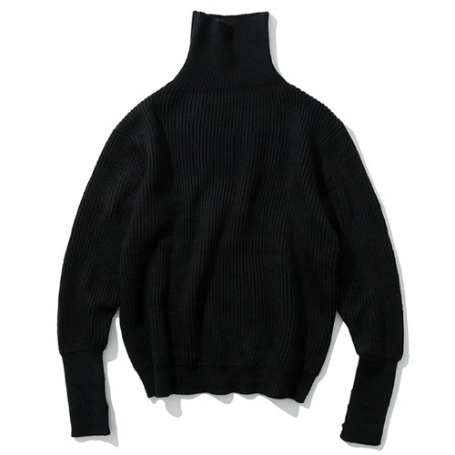 19fw wool turtle neck knit black