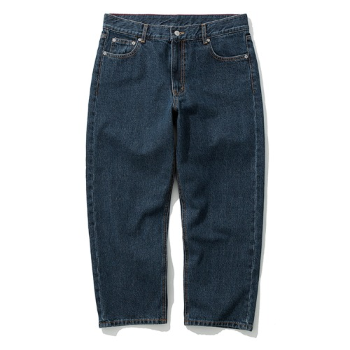 washing crop denim pants navy