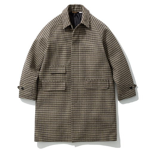 19fw wool balmacaan coat beige check
