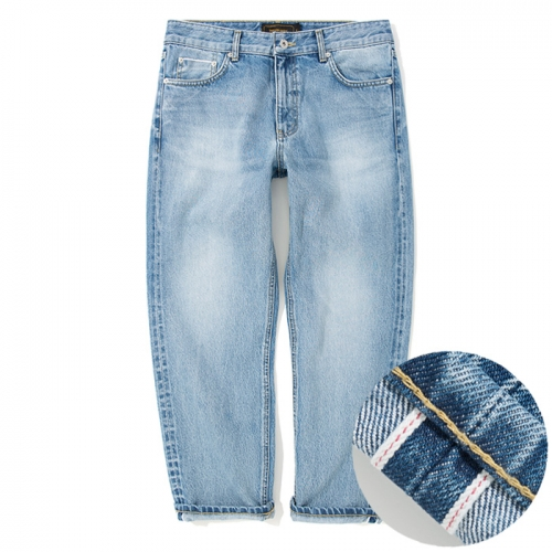 18ss washing crop selvedge denim pants light indigo