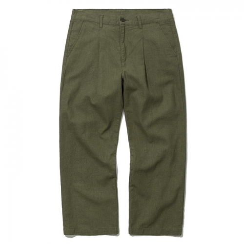19ss one tuck linen pants khaki