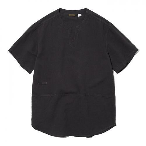 19ss v neck pocket short shirts black