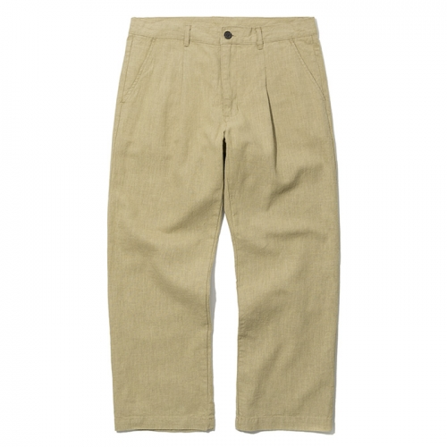 19ss one tuck linen pants beige