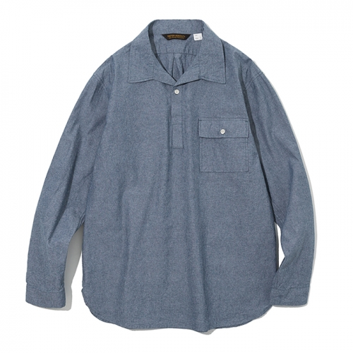 19ss pullover open collar shirts blue