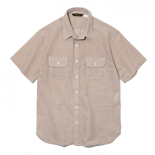 19ss seersucker pocket short shirts brown check