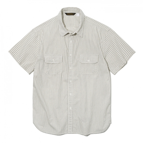 19ss stripe pocket short shirts beige