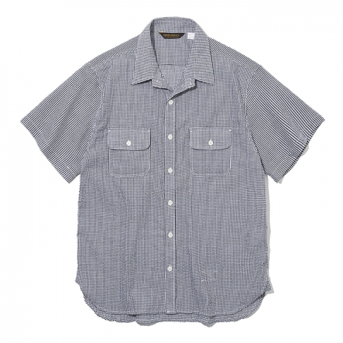 19ss seersucker pocket short shirts black check