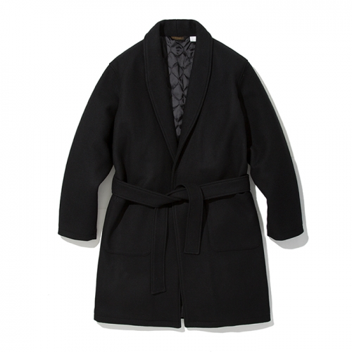 18fw wool robe coat black