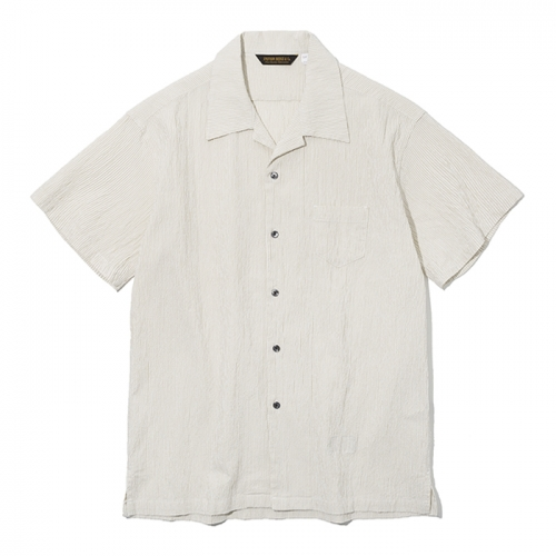 19ss seersucker short shirts beige stripe