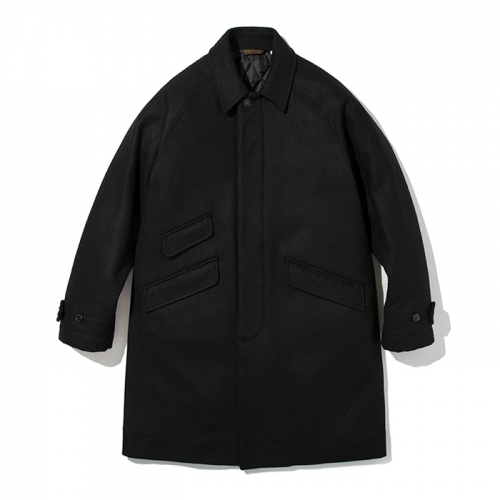 18fw wool balmacaan coat black