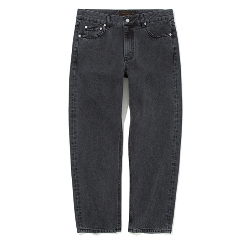 washing crop denim pants black