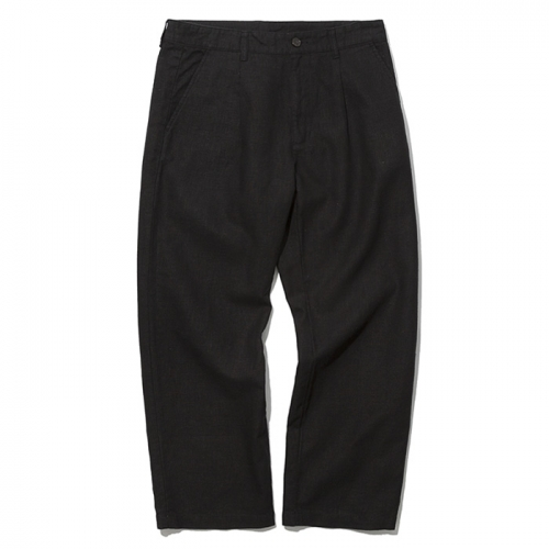 19ss one tuck linen pants black