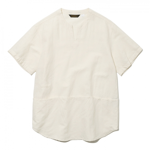 19ss v neck pocket short shirts ivory
