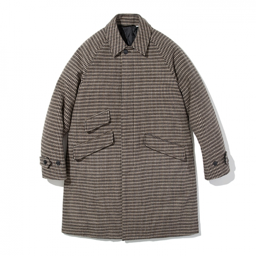 18fw wool balmacaan coat brown check