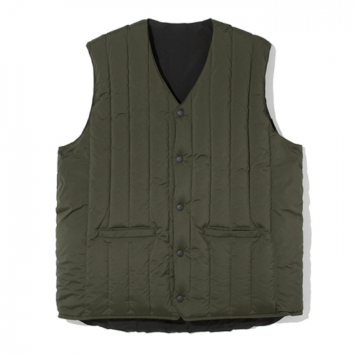 18fw reversible down vest khaki / black